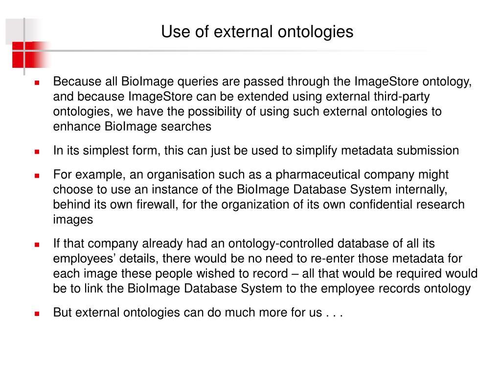 Use of external ontologies