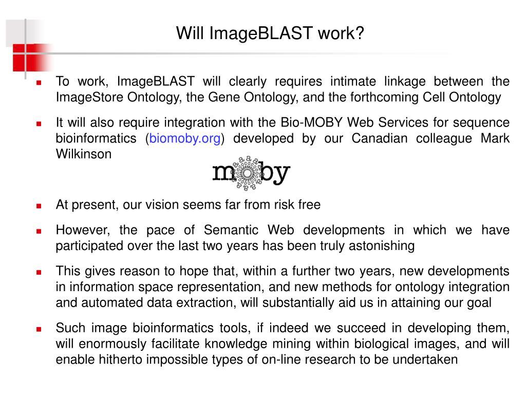 Will ImageBLAST work?