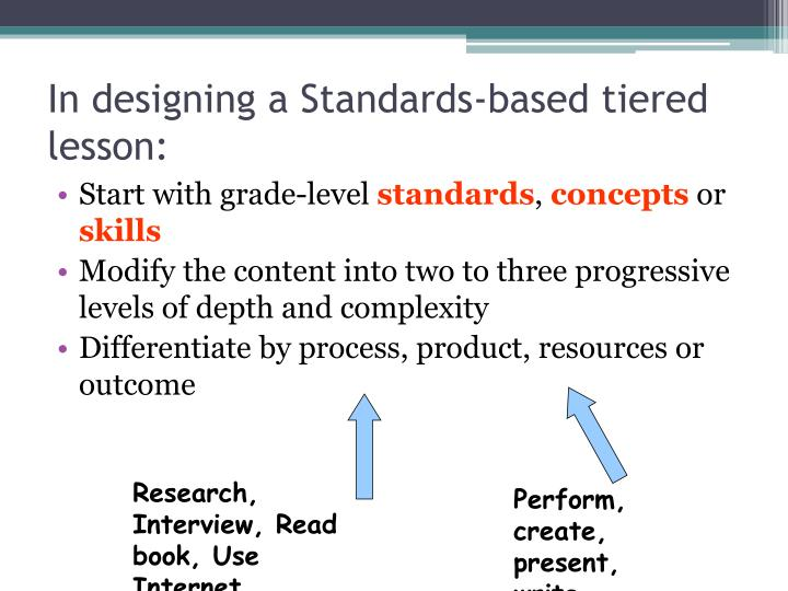 In designing a Standards-based tiered lesson: