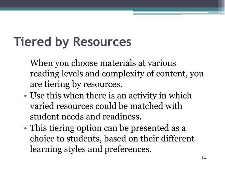 Tiered by Resources