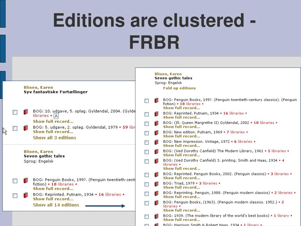 Editions are clustered - FRBR