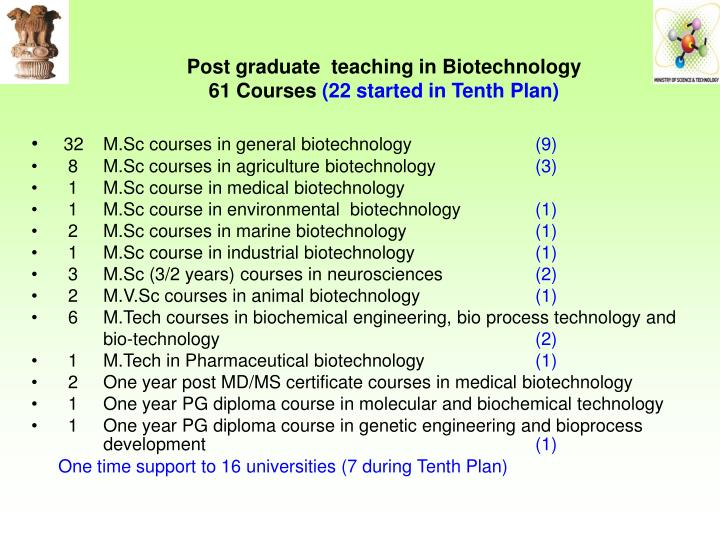 Post graduate  teaching in Biotechnology