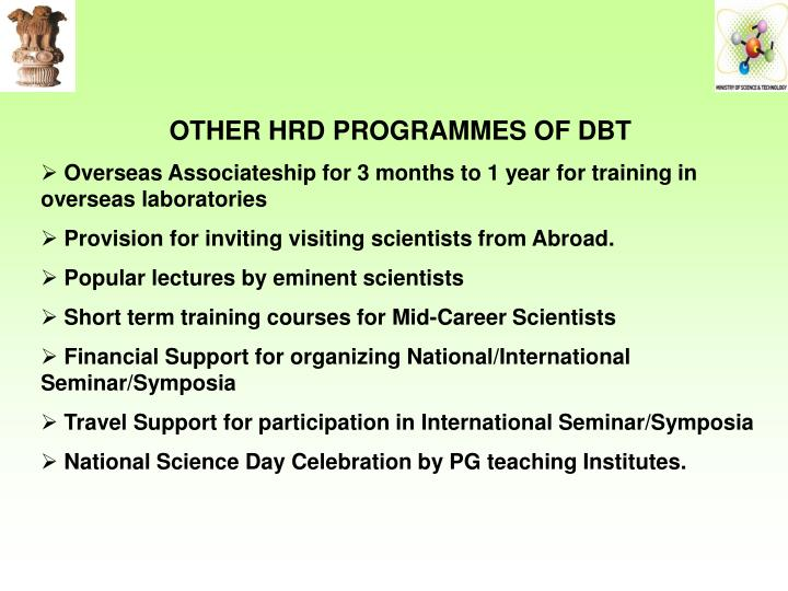 OTHER HRD PROGRAMMES OF DBT