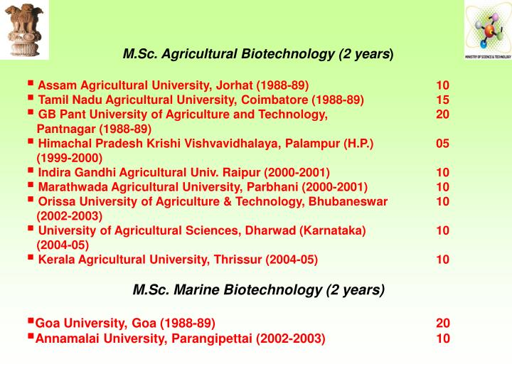 M.Sc. Agricultural Biotechnology (2 years