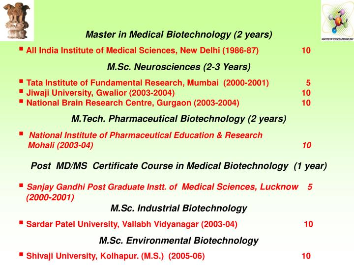 Master in Medical Biotechnology (2 years)
