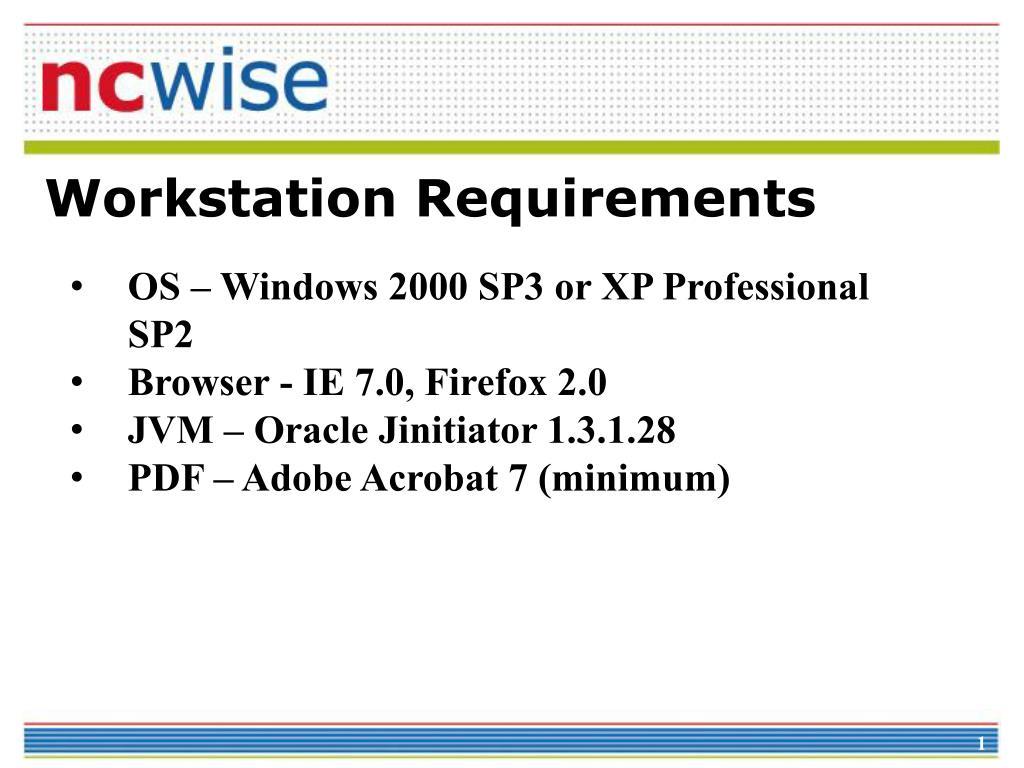 Workstation Requirements