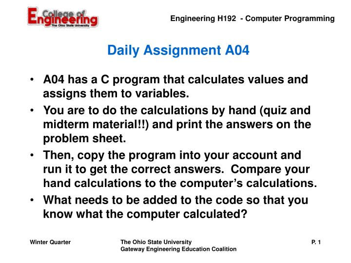 Daily assignment a04