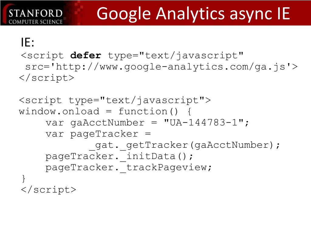 Google Analytics async IE