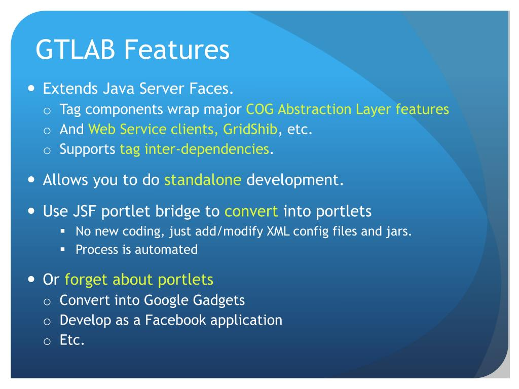 GTLAB Features