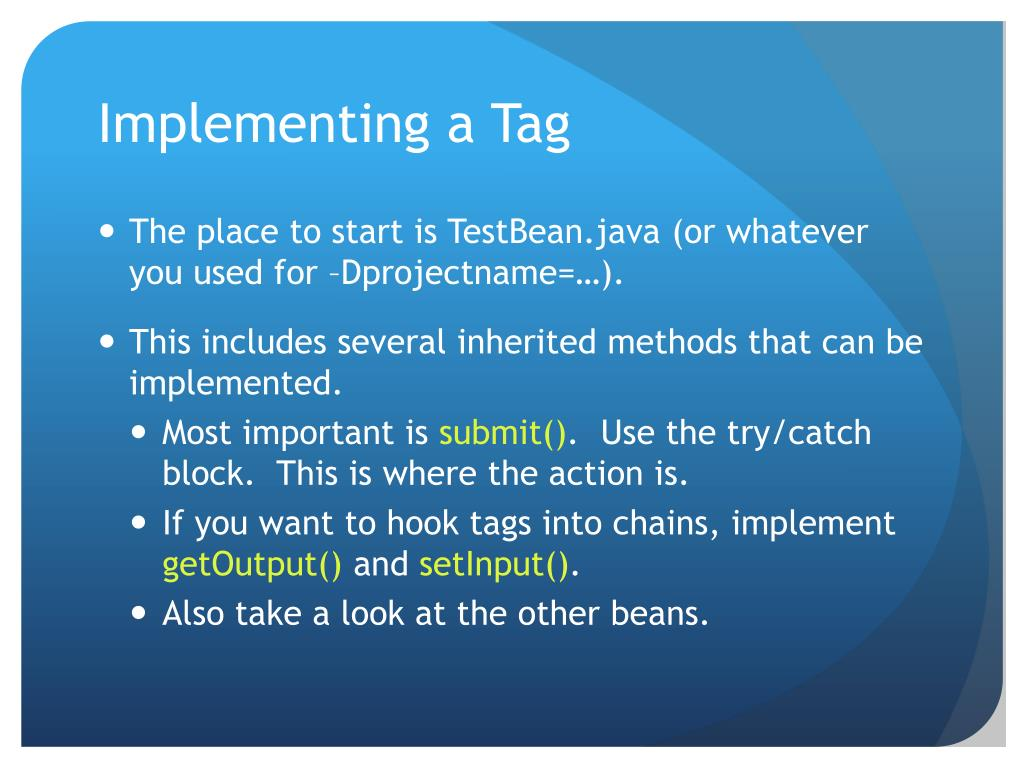 Implementing a Tag