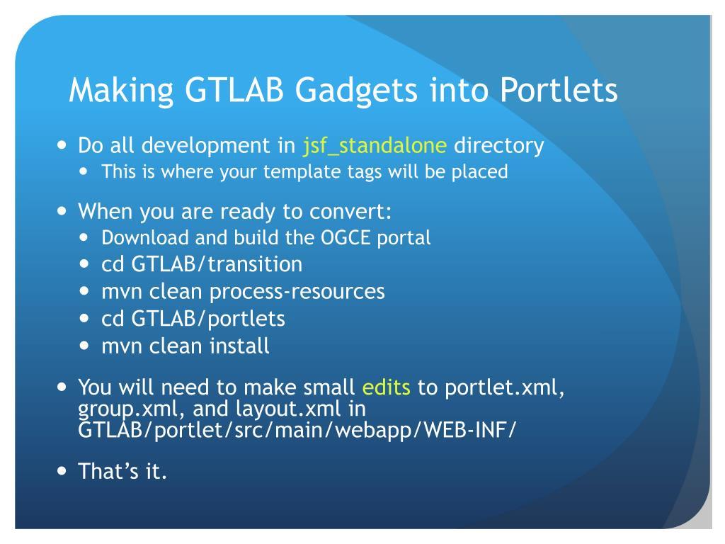 Making GTLAB Gadgets into Portlets