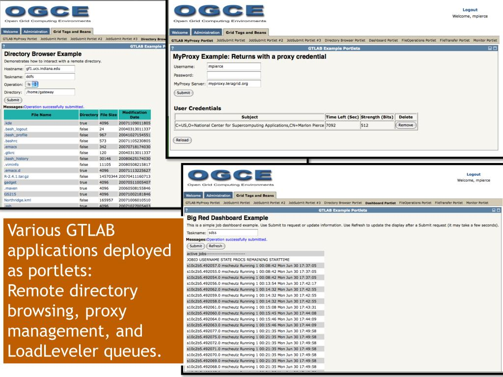 Various GTLAB applications deployed as portlets:
