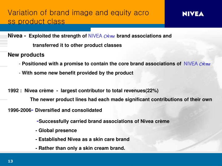 Variation of brand image and equity across product class