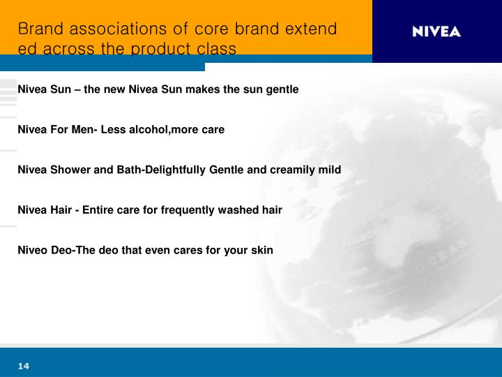 Brand associations of core brand extended across the product class