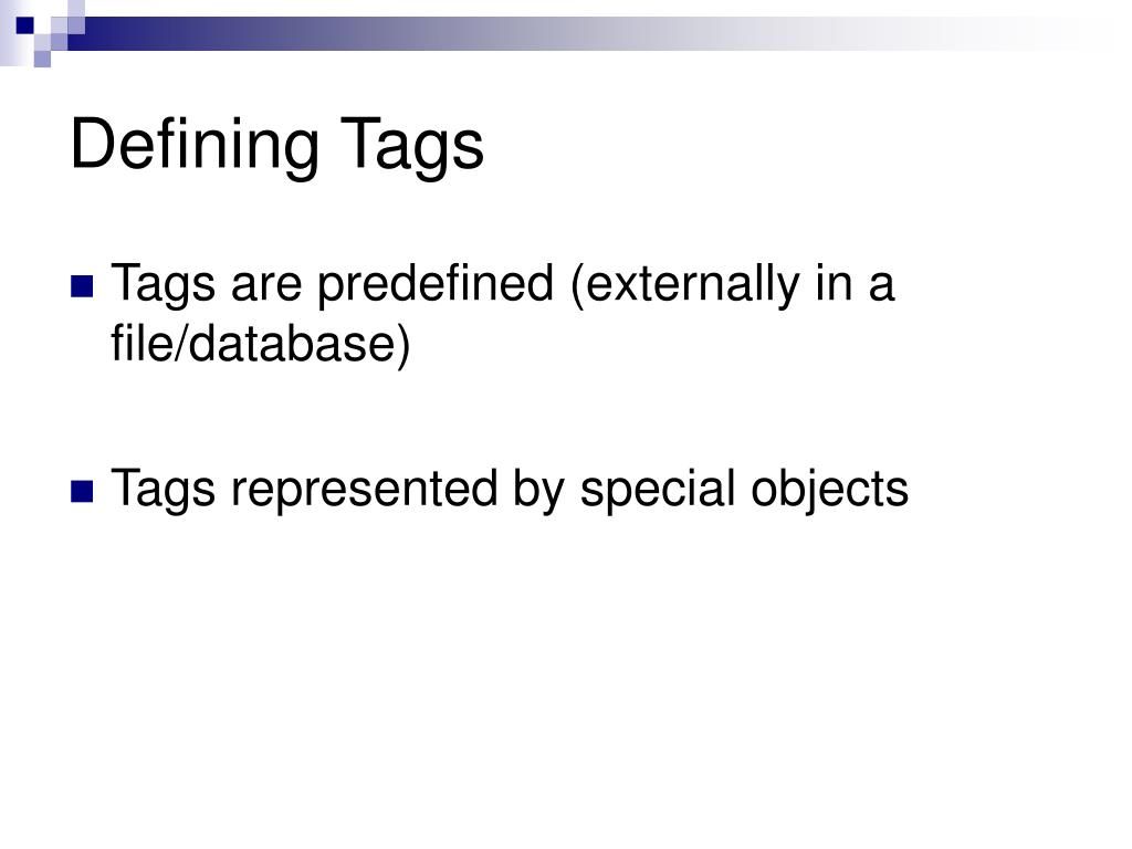 Defining Tags