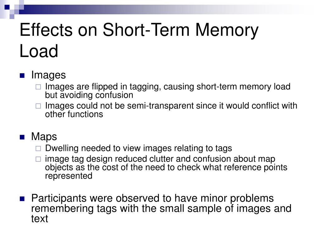 Effects on Short-Term Memory Load
