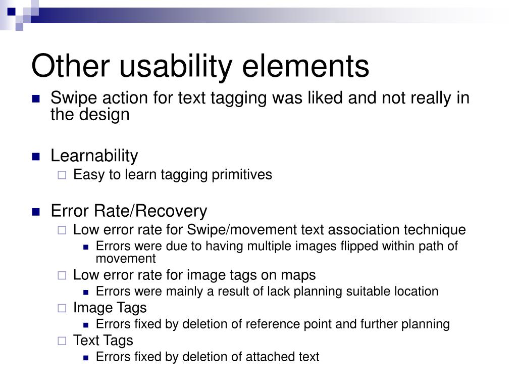 Other usability elements