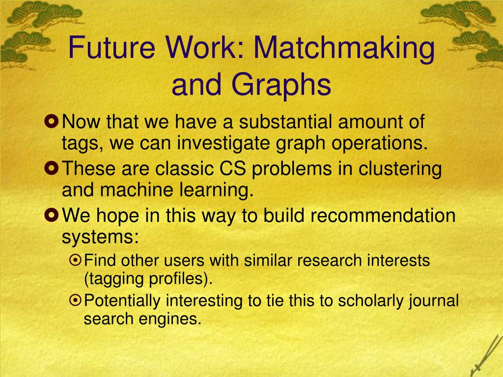Future Work: Matchmaking and Graphs