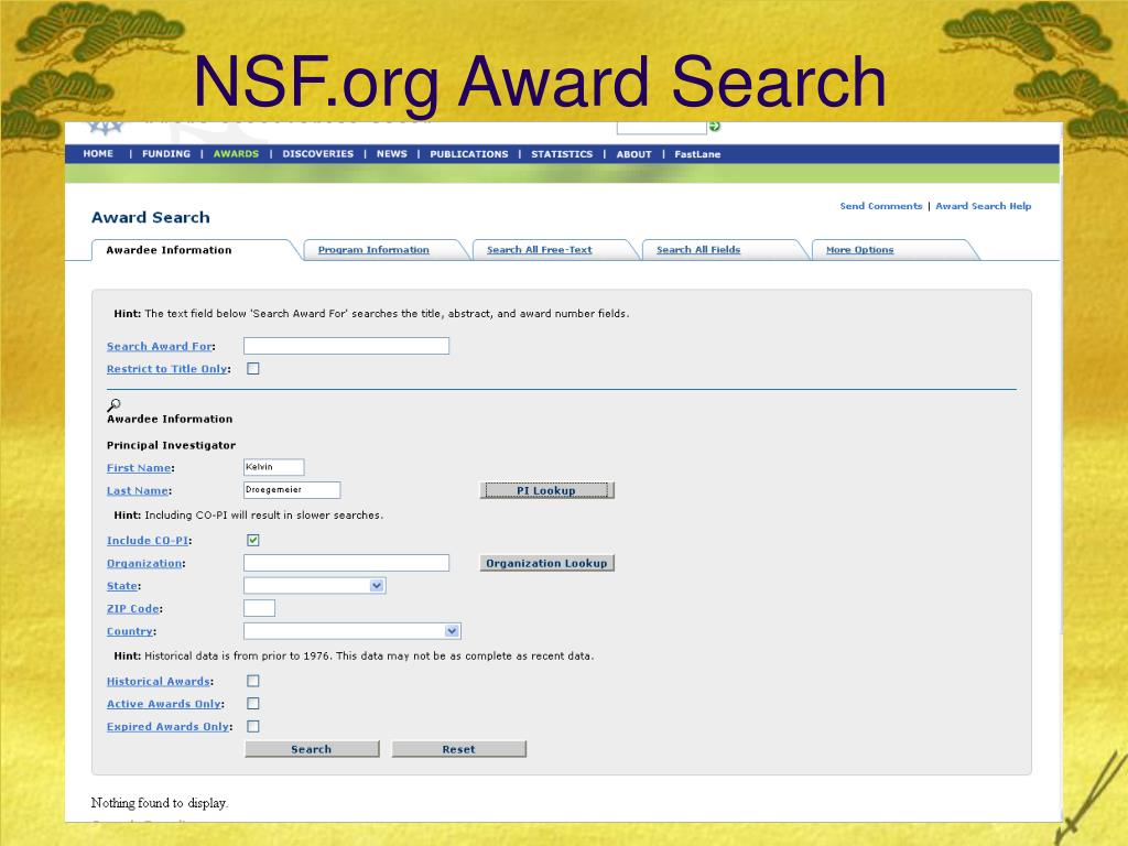 NSF.org Award Search