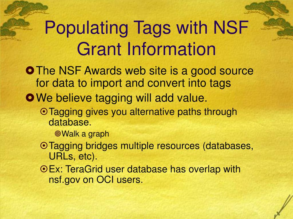 Populating Tags with NSF Grant Information