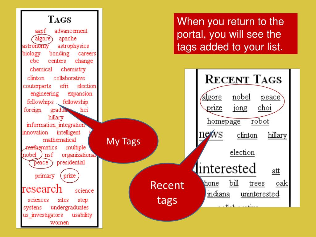 When you return to the portal, you will see the tags added to your list.