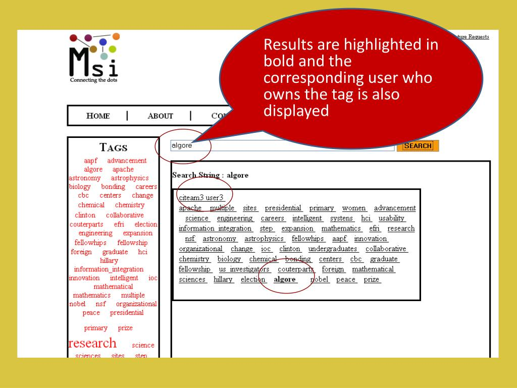 Results are highlighted in bold and the corresponding user who owns the tag is also displayed