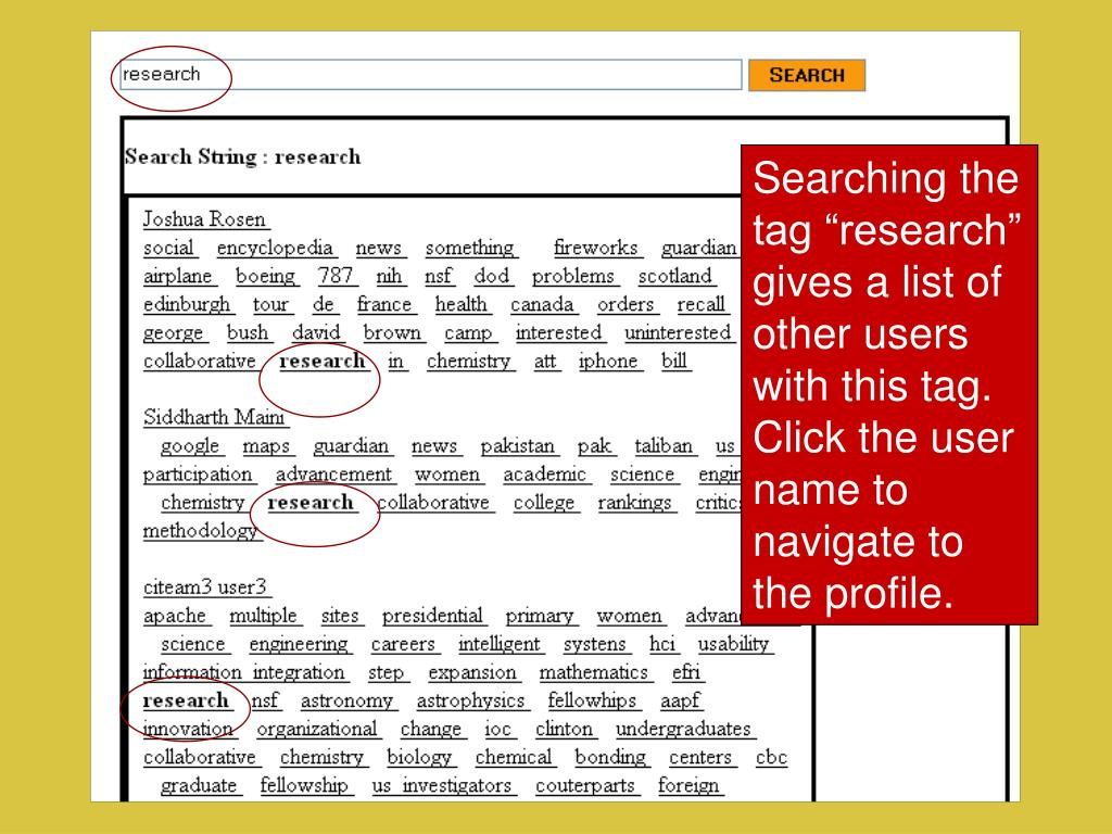 "Searching the tag ""research"" gives a list of other users with this tag."
