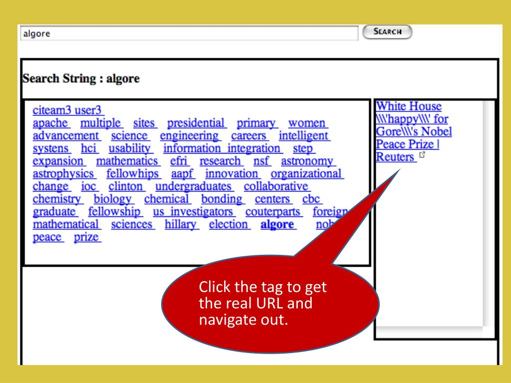 Click the tag to get the real URL and navigate out.