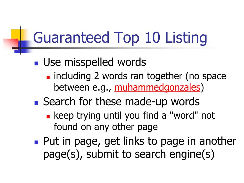Guaranteed Top 10 Listing