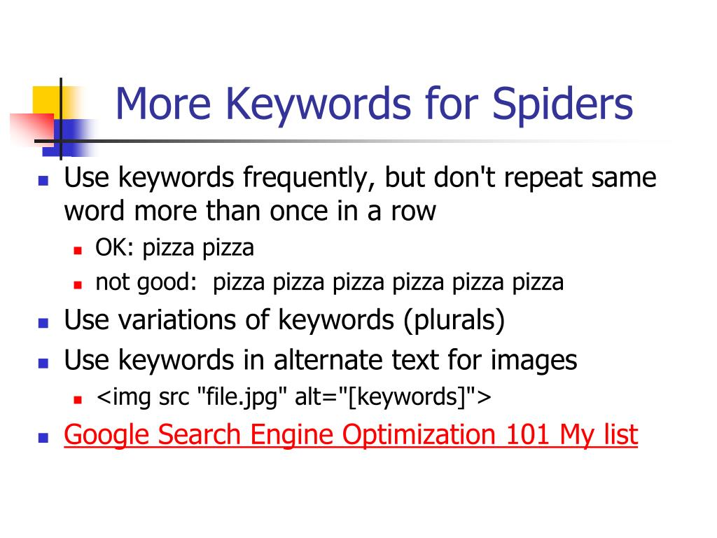 More Keywords for Spiders