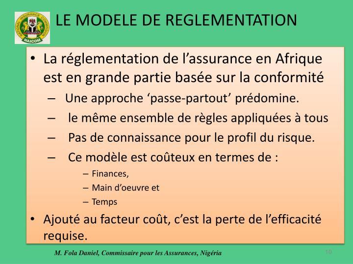 LE MODELE DE REGLEMENTATION
