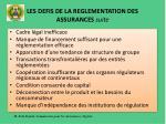 les defis de la reglementation des assurances suite