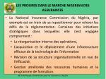 les progres dans le marche nigerian des assurances
