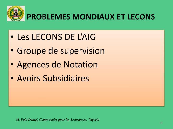 PROBLEMES MONDIAUX ET LECONS