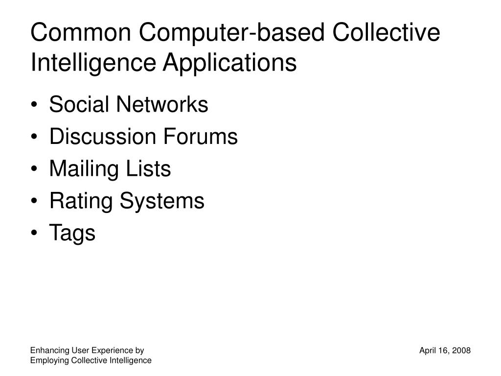 Common Computer-based Collective Intelligence Applications