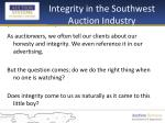 integrity in the southwest auction industry
