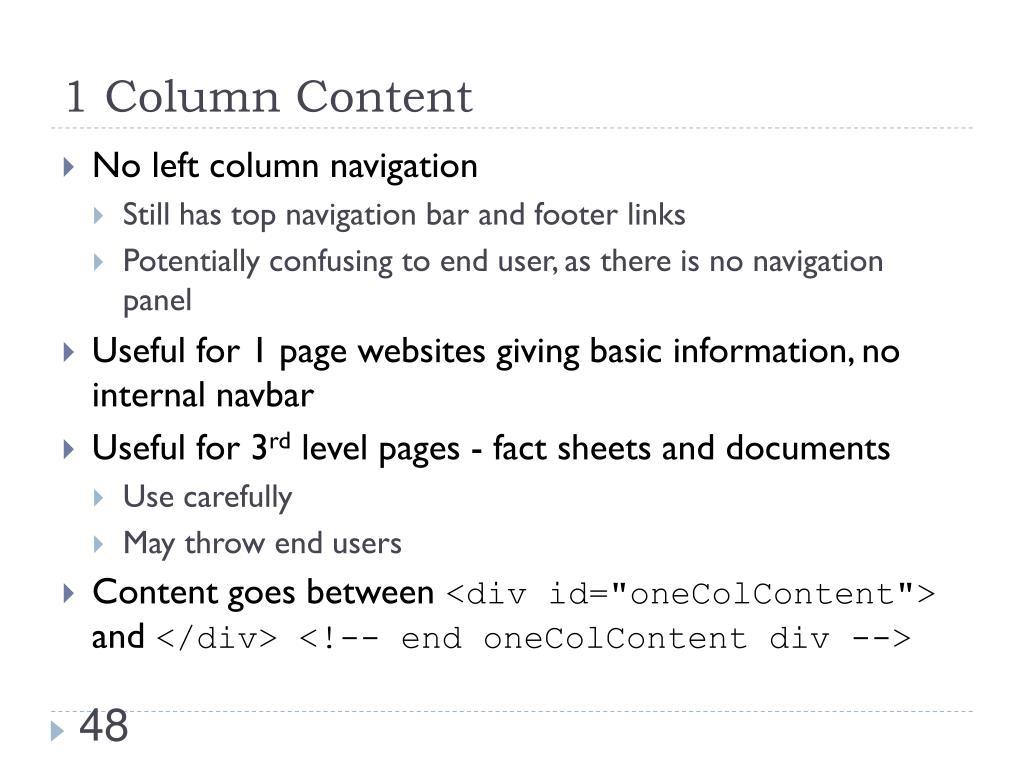 1 Column Content