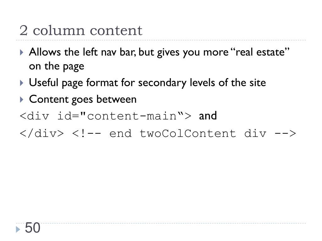 2 column content