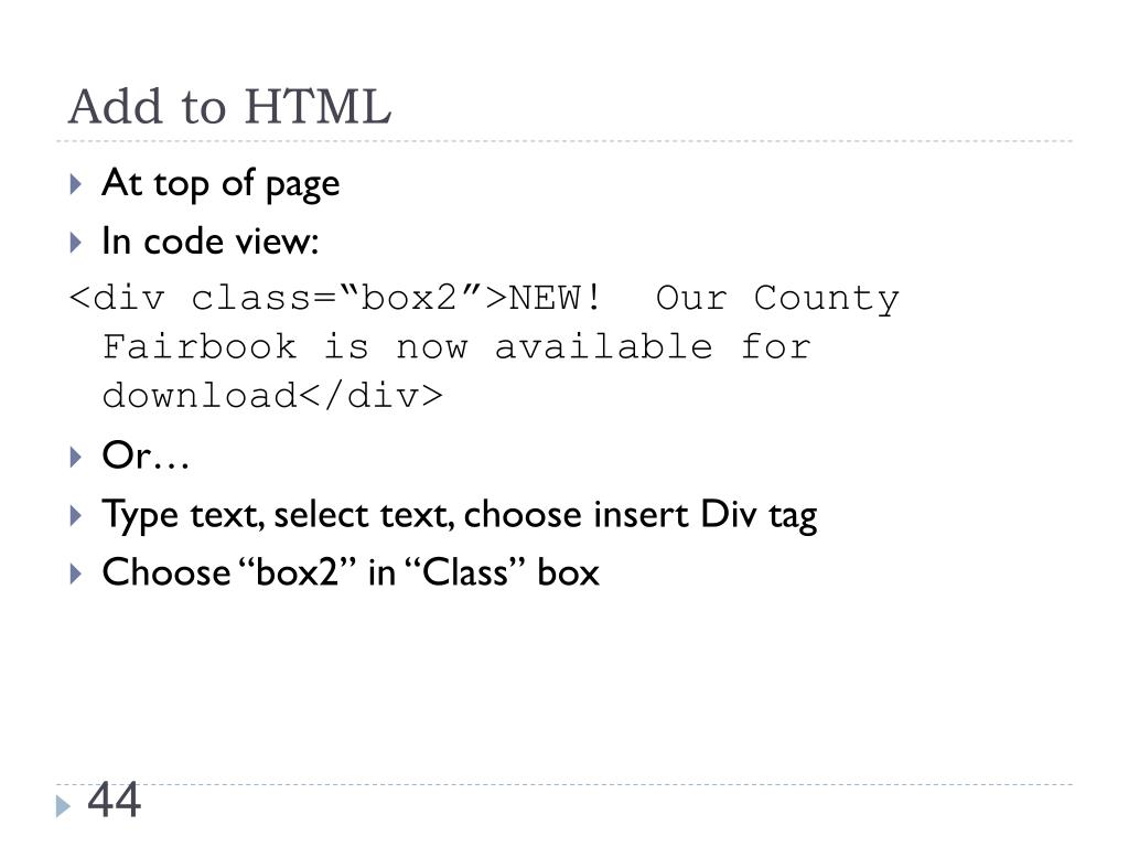 Add to HTML