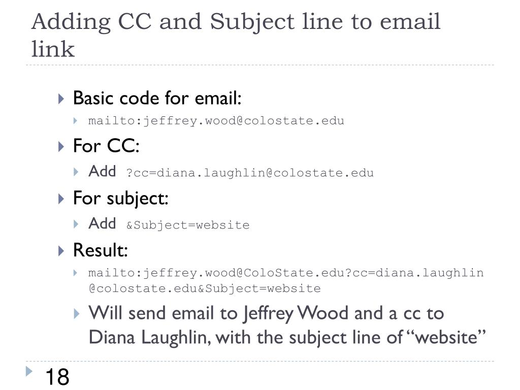 Adding CC and Subject line to email link