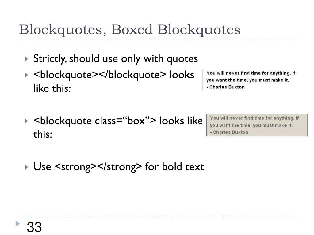 Blockquotes, Boxed Blockquotes