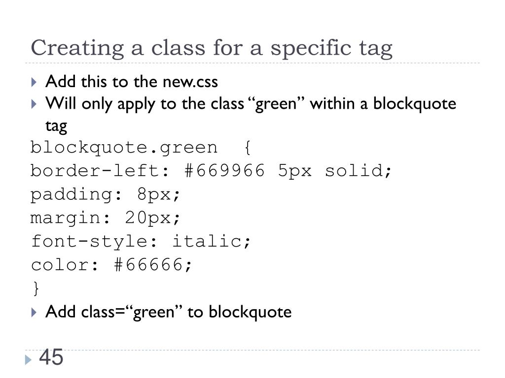 Creating a class for a specific tag