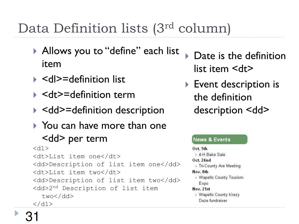 Data Definition lists (3