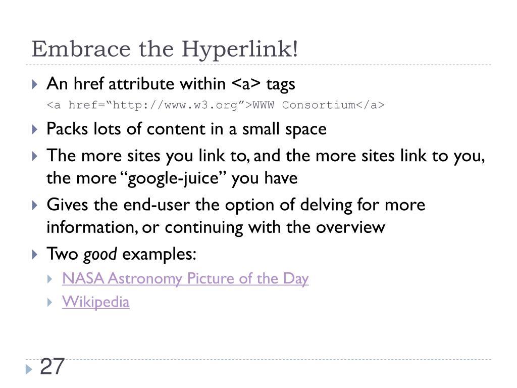 Embrace the Hyperlink!