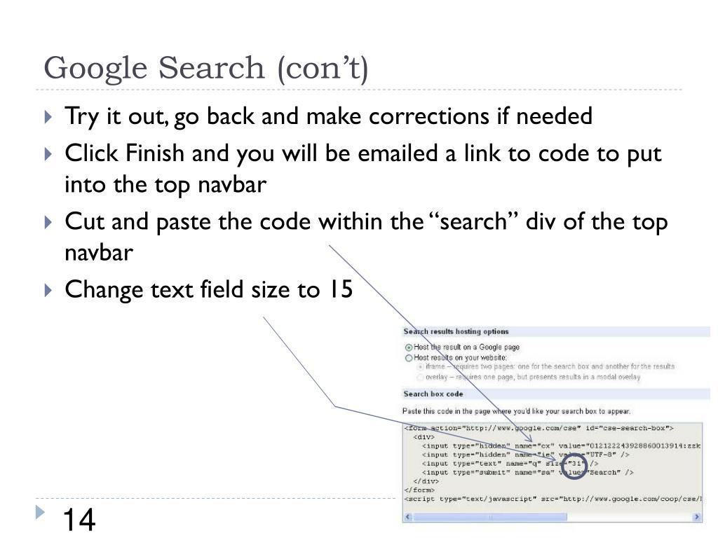 Google Search (con't)