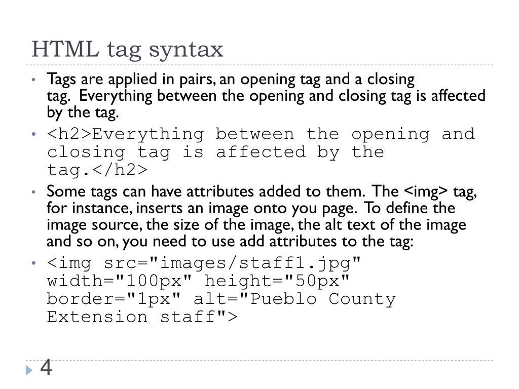 HTML tag syntax