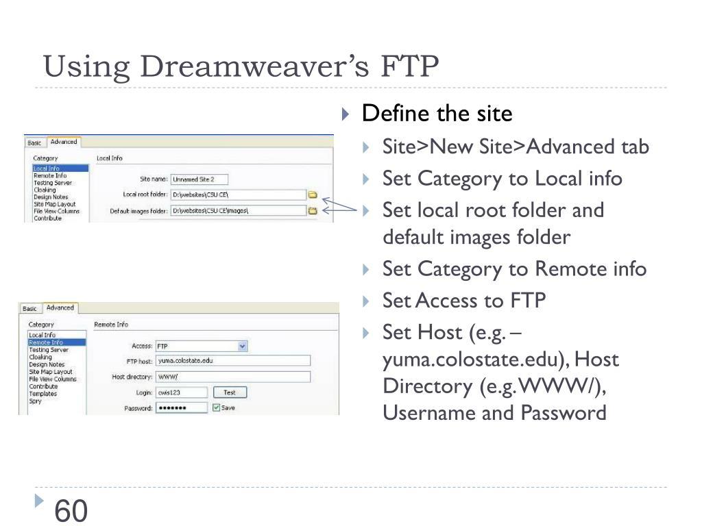 Using Dreamweaver's FTP