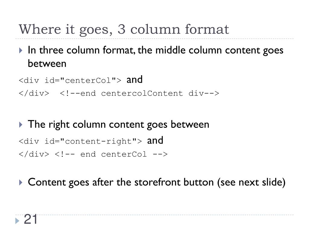 Where it goes, 3 column format