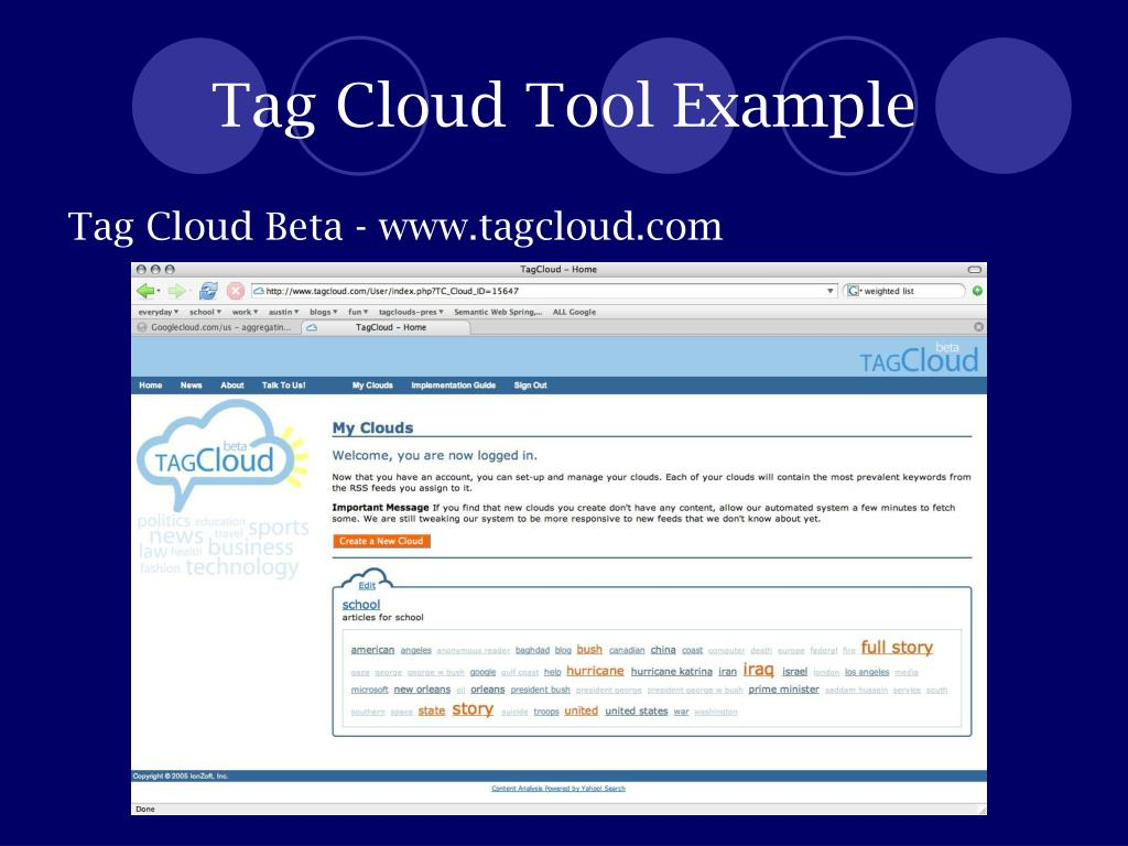 Tag Cloud Tool Example