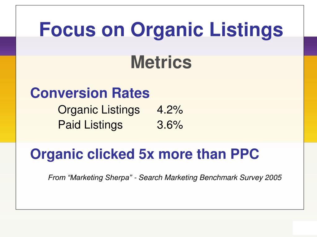 Focus on Organic Listings